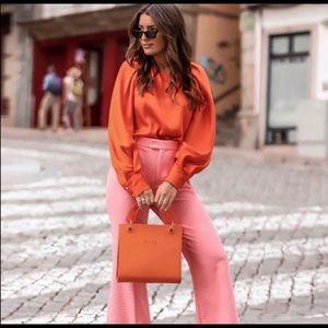 Zara orange blouse bloggers favorite sz Xs